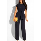 Lovely Trendy Knot Design Black Two-piece Pants Set