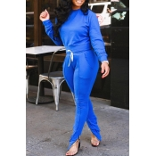 Lovely Casual Lace-up Blue Blending Two-pieces Pants Set