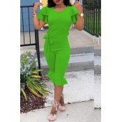 Lovely Casual Flounce Design  Green Blending One-piece Rompers