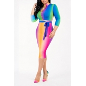 Lovely Casual Color-lump Multicolor Knitting Mid Calf Dress (With Belt)