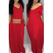 Lovely Casual Pockets Design Bright Red Blending Floor Length Dress