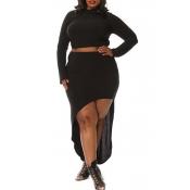 Lovely Trendy  Asymmetrical Plus Size  Black Two-p