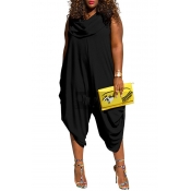 Lovely Trendy Loose Plus Size  Black One-piece Jum