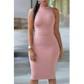 Lovely Work Tank Sleeveless Light Pink  Knee Lengt