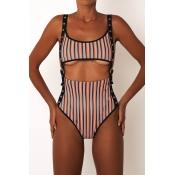 Lovely Sexy Striped Red One-piece Swimwear