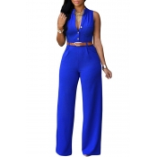 40c46fb2dc6df Lovely Casual Loose Royal Blue One-piece Jumpsuit(With Belt)