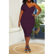 Lovely Chic One Shoulder Plus Size  Purple Knee Le