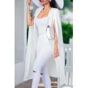 Lovely Casual Sleeveless Cloak Design White Coat