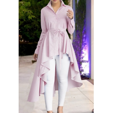 Lovely Casual Asymmetrical Lace-up Pink Blouses