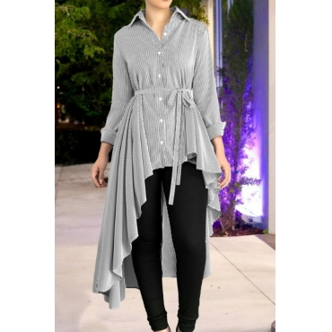 Lovely Casual Asymmetrical Lace-up Grey Blouses