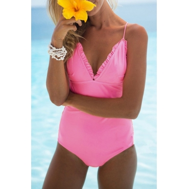 Lovely Sexy Flounce Design Pink One-piece Swimwears