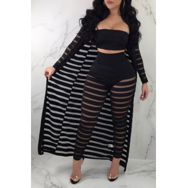 Lovely Casual Striped Black Two-piece Pants Set(With Coat)