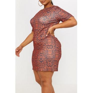 Lovely Trendy Printed Slim Brown Mini Dress