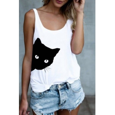 Lovely Casual Cat Printed White Tank Top