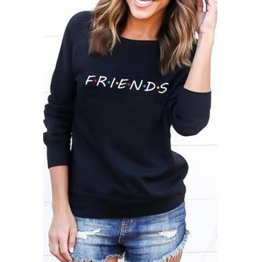 Lovely Casual Printed Loose Black Cotton Sweatshirt