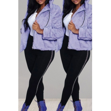 Lovely Casual Hooded Collar Purple Coat