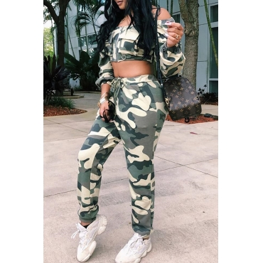 Lovely Casual Printed Camouflage Blending Two-piece Pants Set