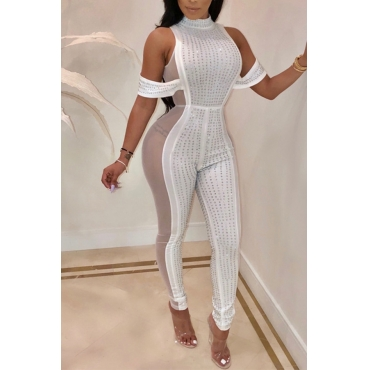 Lovely Sexy See-through Skinny White One-piece Jumpsuit