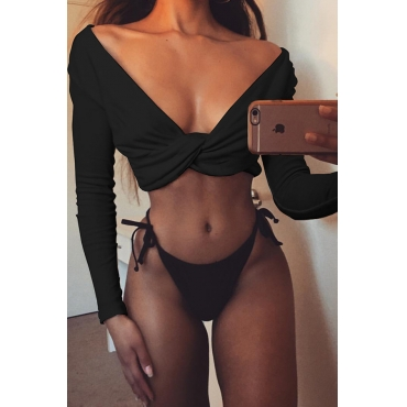 Lovely Sexy Long Sleeves Black Blouses