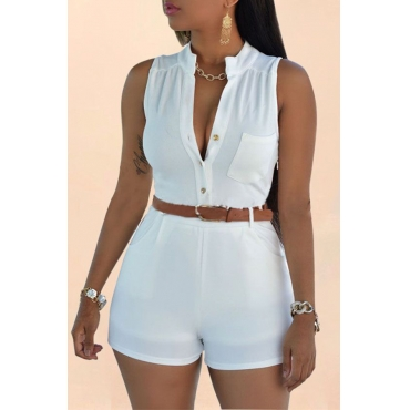 Lovely Trendy Buttons White One-piece Rompers(With Belt)