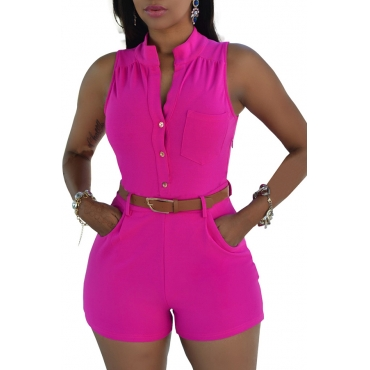 Lovely Trendy Buttons Rose Red One-piece Rompers(With Belt)