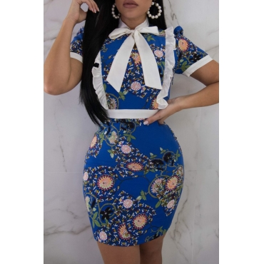 Lovely Casual Patchwork Blue Twilled Satin Mini Dress