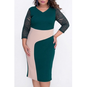 Lindo Vestido De Comprimento De Joelho Verde Cor-protuberância Casual