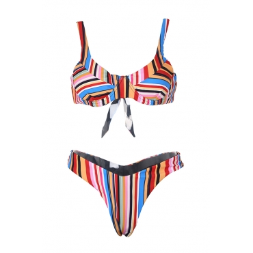 Lovely Sexy Striped Lace-up Bikinis