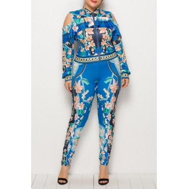 Lovely Chic Floral Printed Blue Two-piece Pants Set
