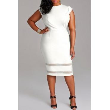 Lovely Trendy Patchwork White Knee Length Dress