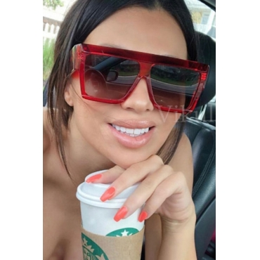 Lovely Chic Big Frame Design Red PC Sunglasses