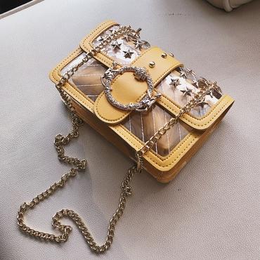Lovely Fashion Rivet Decorative Yellow PU Crossbody Bag