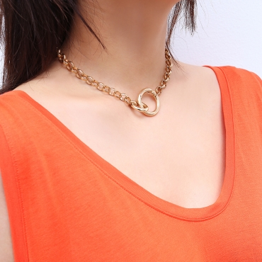 Lovely Casual  Chain Gold Metal Necklace