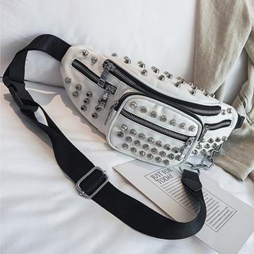 Lovely Trendy Rivet Decorative White PU Crossbody Bag