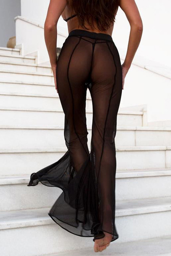 Lovely Sexy See-through Loose Black Pants(Without Underwear)