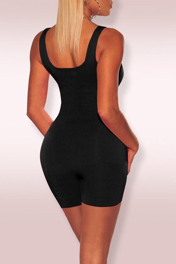 Lovely Casual Sleeveless Skinny Black One-piece Romper