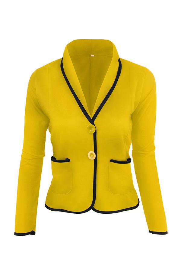 Lovely Work Buttons Short Yellow Coat