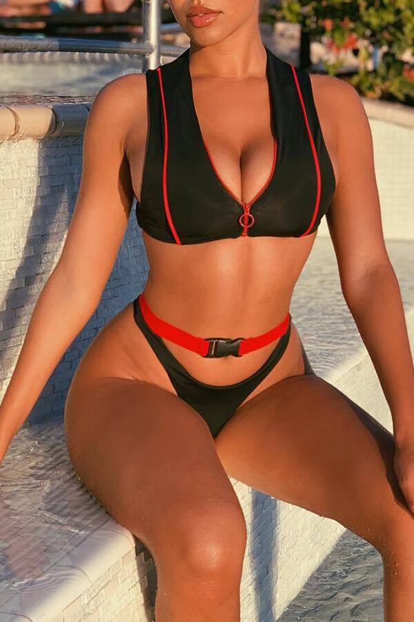 lovelywholesale / Cheap Bikinis Lovely Sexy Patchwork Black Two-piece Swimwear