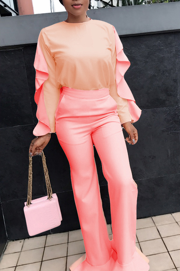 Lovely Casual Flounce Design Light Pink Two-piece Pants Set