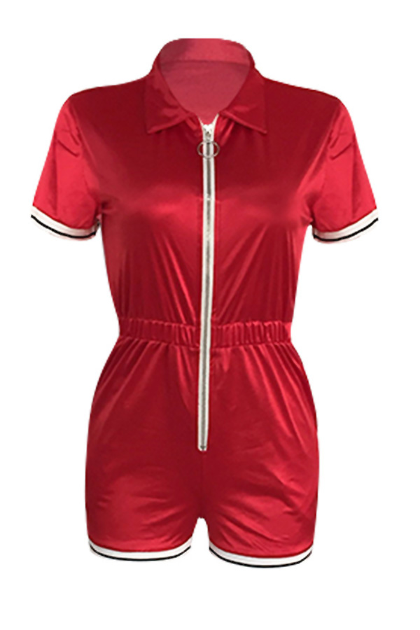 Lovely Casual Zipper Design Red One-piece Rompers