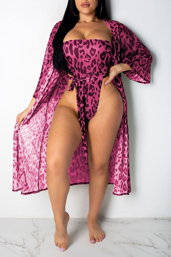 Lovely Sexy Printed Rose Red One-piece Swimwears (With CoverUps)