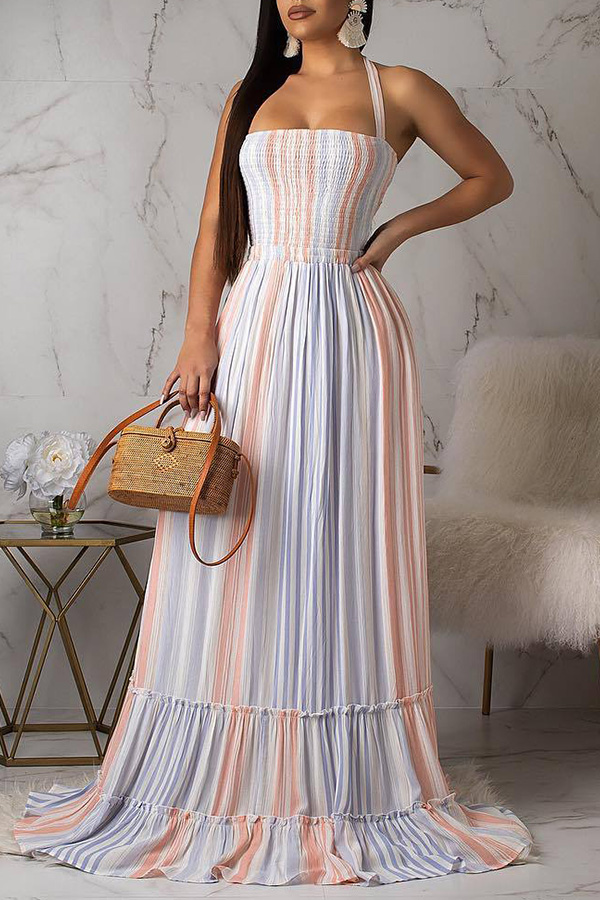 Lovely Sweet Striped Loose Blue Floor Length Dress