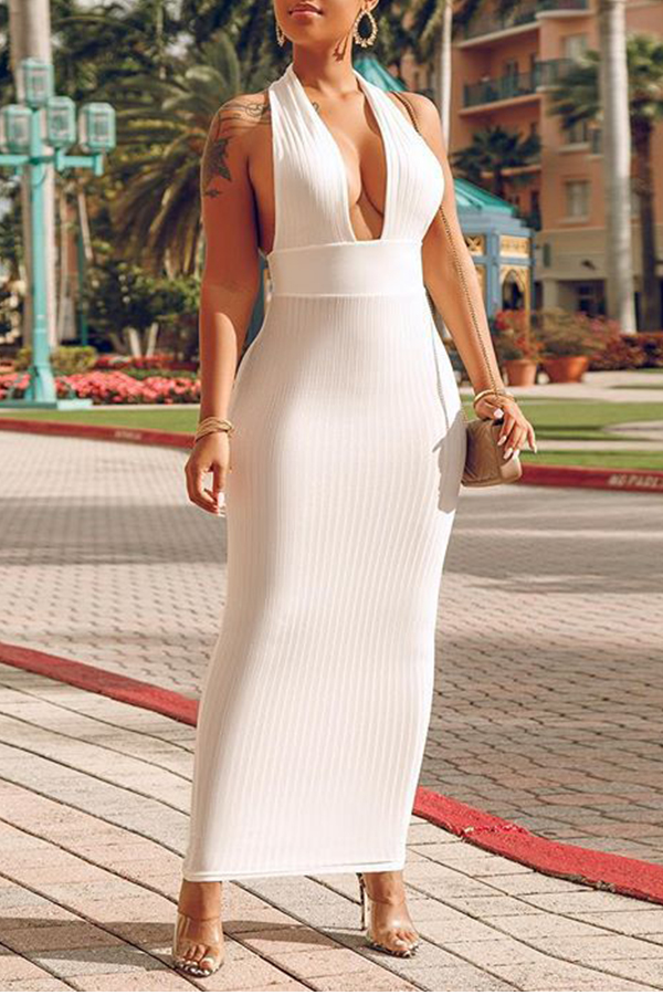 Lovely Elegant Slim White Ankle Length  Dress