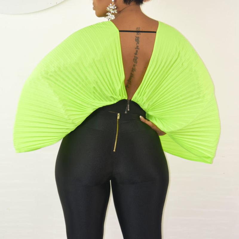Lovely Casual Batwing Sleeve Loose Green Chiffon  Blouses