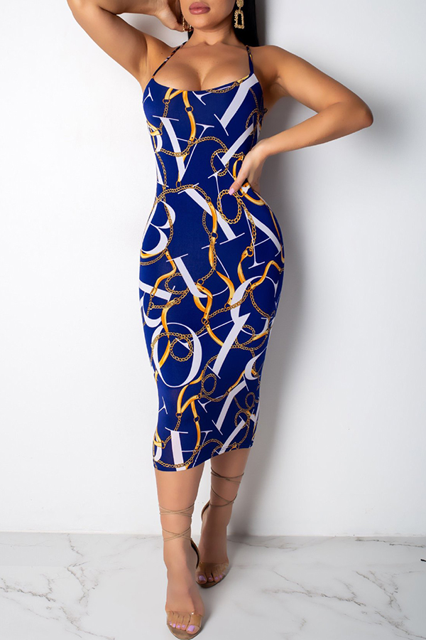 Lovely Temperament Spaghetti Strap Printed Dark Blue Mid Calf Dress