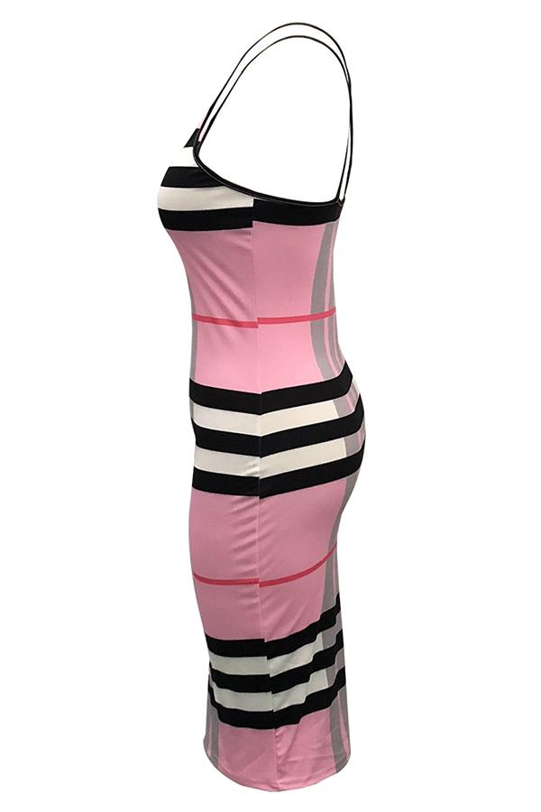 Lovely Sweet Plaid Printed Pink Knee Length Dress