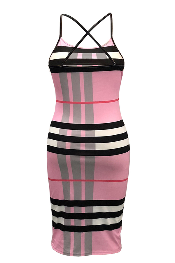Lovely Sweet Plaid Printed Pink Knee Length Dress