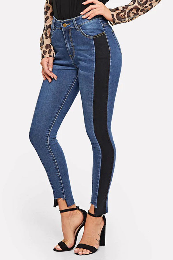 Lovely Patchwork Royal Blue Denim Pants