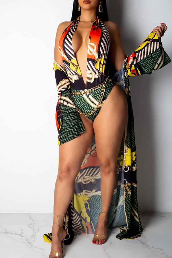 Lovely Sexy Printed Multicolor One-piece Swimwears (With CoverUps)