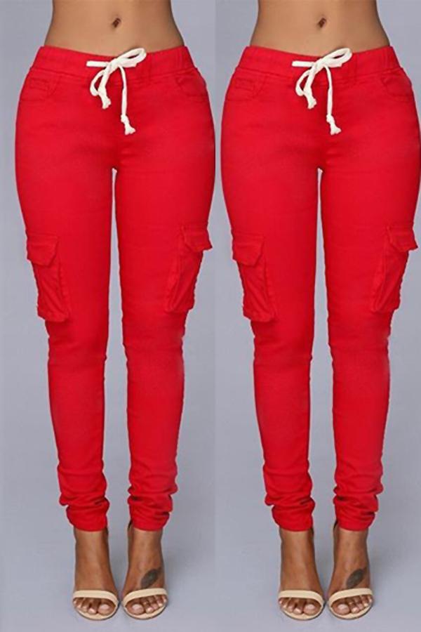 Lovely Trendy Skinny Drawstring Red Pants